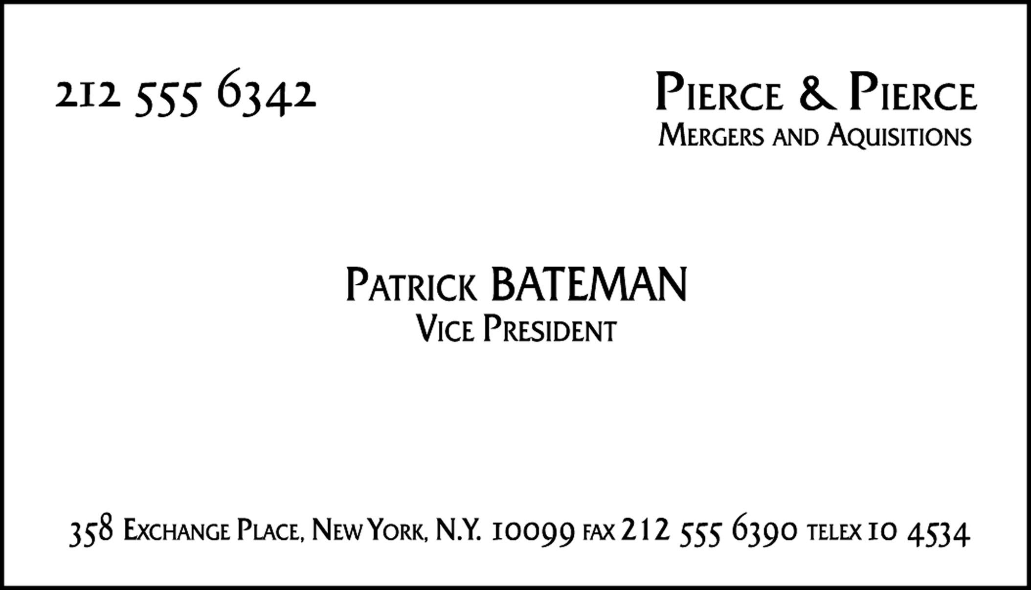 100th post top 100 movie props memorabilia plus free for Patrick bateman business cards